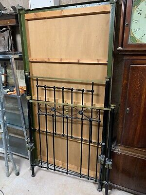 Antique Late Victorian Edwardian Brass &Cast 3' Iron Bed
