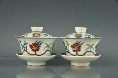 Chinese Antique Porcelain chenghua marked pair doucai Lotus flower Teacup 3.9""