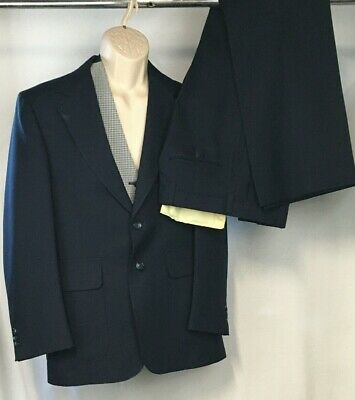 3 pc Vintage Sears Action Suits Men's 38R Navy Blue 2 Piece Suit w Pants 36x30