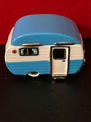 "Retro Blue Camper Trailer Trinket Box 3 3/4"" Long X 2 1/2"" Tall-Adorable!!!"