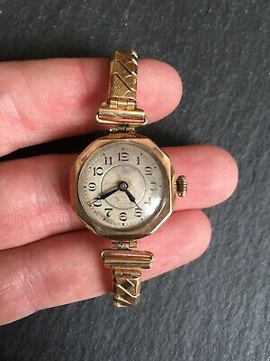 Antique 9ct Yellow Gold Cased Ladies Mechanical Wristwatch Art Deco Style watch