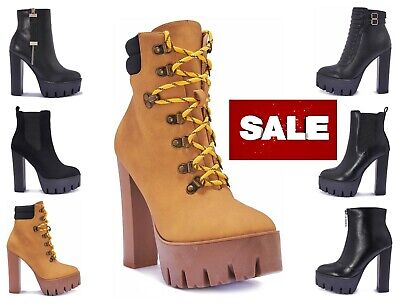 Womens Ladies Vegan Leather High Heel Ankle Chunky Worker Boots Platform Boot 👷