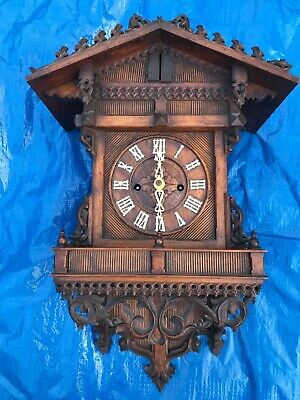 Beautiful Unusual Beha Double Fusee Wood Plate Black Forest  Cuckoo Clock C1875