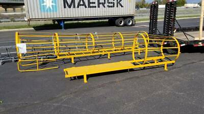 PICKUP ONLY!! 14 Step Steel Caged Fixed Access Ladder, Safety Yellow