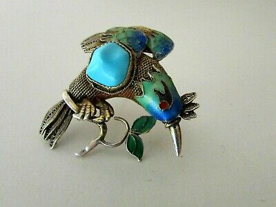 Antique Chinese Gilt Silver Cloisonne Enamel Bird Brooch Pin