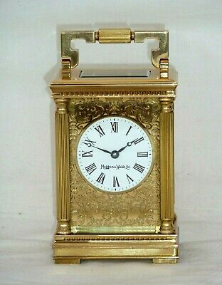 Mappin & Webb 8 Day Solid Brass Masked Filigree Carriage Mantel Mantle Clock
