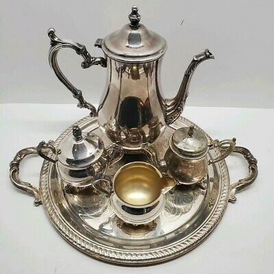 Antique Vtg 1883 FB Rogers Silverplate Tea Coffee Pot Service Sugar Creamer Set