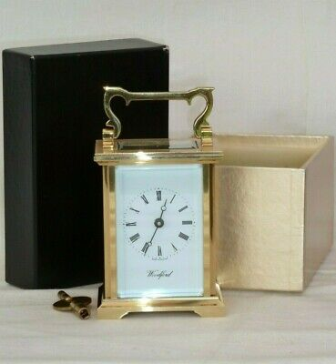 Lovely Woodford 8 Day Solid Brass Carriage Mantel Mantle Clock With Box & Key