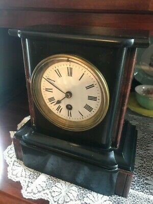 Antique Slate And Marble French/English Mantle Clock 1880 Time Only