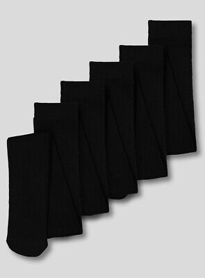 Pack of 5 Plain Black Girls School Uniform Soft Cotton Rich Tights 2-13 years