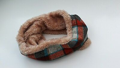 uk baby kids winter scarf snood faux fur very warm brown/blue checked