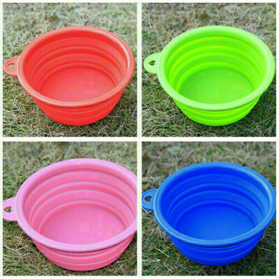 Super Collapsible Silicone Cat Dog Pet Feeding Bowl Water Dish Feeder Portable