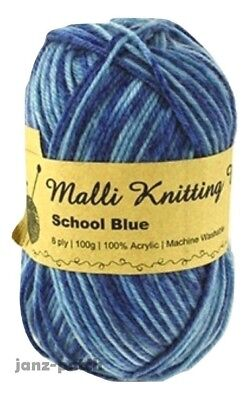 Malli 8ply Acrylic Knitting and Crochet Yarn 100g - School Blue Mix
