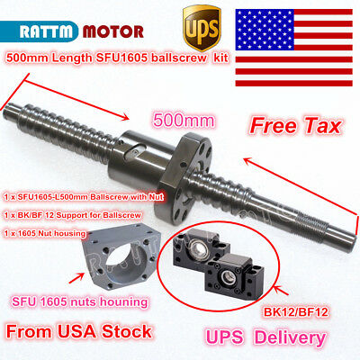 【US】RM/SFU1605 L500mm Ballscrew C7& Nut Housing & BK/BF12 End Support CNC Router