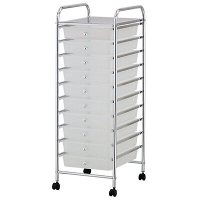 White Plastic Storage10 Tier with Metal Trolley Shelf and Slide-Out Drawers