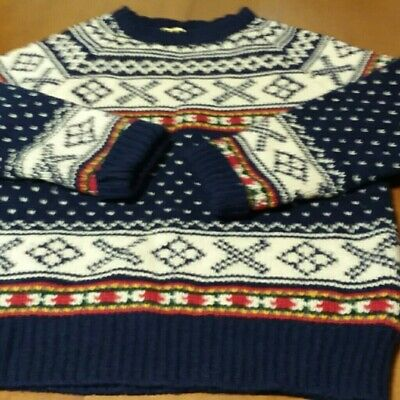Limited America 100% Wool Multi Colored Hand Knitted Sweater Sz M