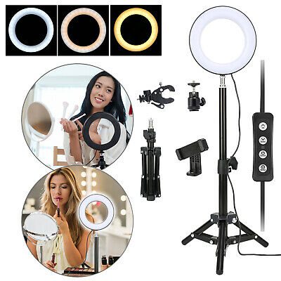 "6""/10"" Dimmable Diva LED Ring Light Tripod Stand Selfie Mini Circle Lamp Make Up"