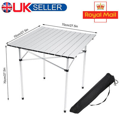Portable Aluminum Folding Table Roll Up Outdoor Camping BBQ Picnic Party Tool UK