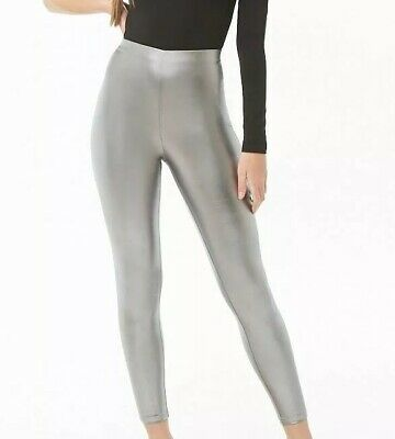 Forever 21 Lame Footless Leggings SILVER Metallic Sexy Shiny Stretchy Pants S
