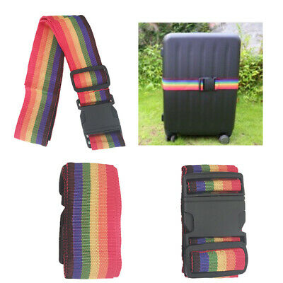 2Pack Travel Adjustable Backpack Bag Luggage Suitcase Strap Baggage RainbowBelt