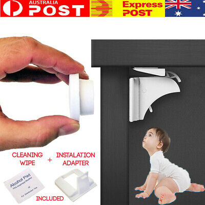 4-12X Magnetic No Drilling Cabinet Drawer Cupboard Locks Baby Kids Safety Lock