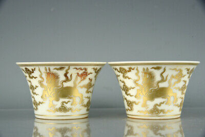 Fine Chinese Antique Porcelain chenghua marked pair gilt ruyi horse Teacup 3.3""