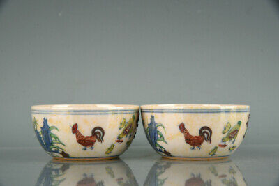"""Chinese Old Fine Porcelain chenghua marked pair red doucai chicken Teacup 2.9"""""""