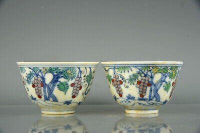 Fine Old Chinese Antique Porcelain chenghua marked pair doucai Grape Teacup 2.9""