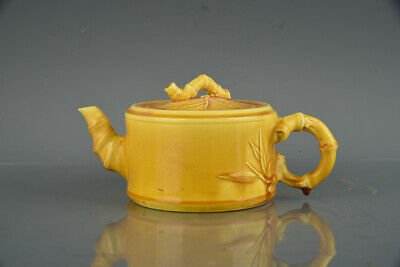 Chinese Old Porcelain hongzhi marked Hand Carved yellow glaze Bamboo teapot 7.1""