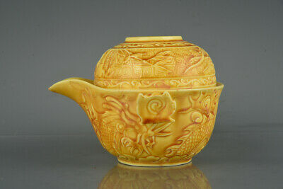 Old Chinese Porcelain hongzhi marked yellow glaze Hand Carved dragon teapot 4.7""