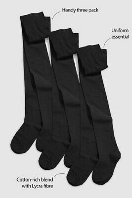 Pack of 3 Plain Black Girls School Uniform Soft Cotton Rich Tights 2-13 years
