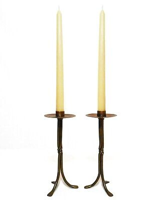 Early 20Th C Antique Pair Arts & Crafts Tooled Copper & Brass 3-Leg Candlesticks