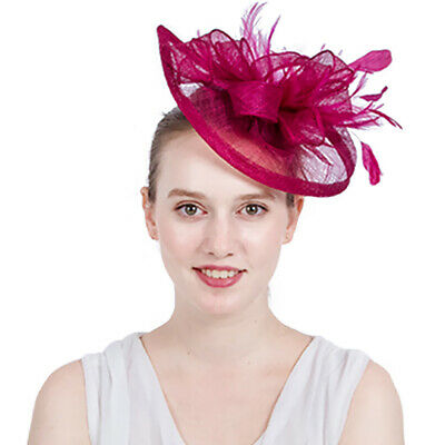 Hair Fascinator Headband Sinamay Hat Feather Flower Hairband for Womens Bridal