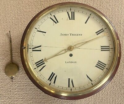 WOODEN DIAL 14 inch fusee wall clock JAMES TREGENT