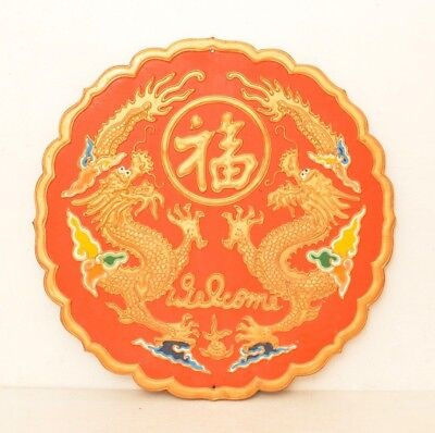 Antique Large Hand Carved Wood Welcome Sign Gold Orange Chinese Dragon Asian Art