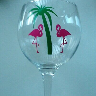 6 X Flamingos and Palm Tree WINE GLASS  Vinyl Decals stickers