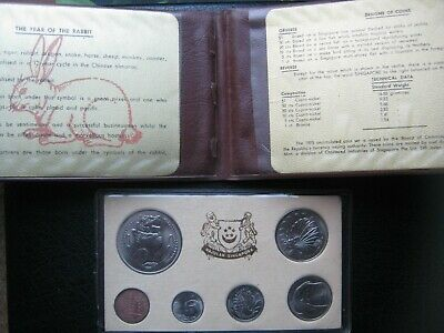 Singapore 1975 UNC 6 Coin Collection Set Year of the Rabbit: Cent ~ $1 Dollar