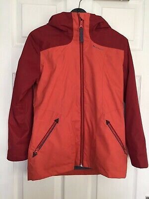 Quechua Girls Orange Mix Removable Lining Hooded Raincoat Size 10 years
