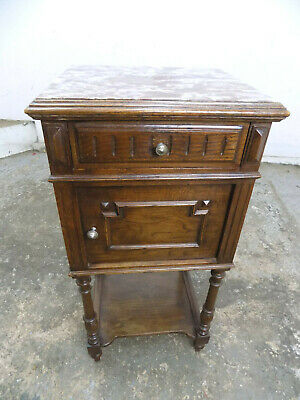 vintage,french,oak,2 tier,cupboard,marble top,drawer,turned legs,side,end,table