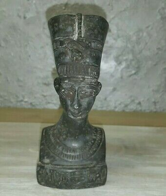 c.19th Antique Old Egyptian Queen Nefertiti Black Bust Stone Carved Figurine