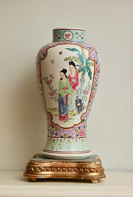 Superb Antique Chinese Famille Rose Vase, Figural & Exotic Bird, Signed on Base