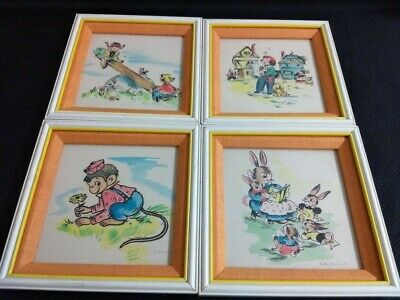 Four colored framed MC prints by children's book illustrator Esther Friend.