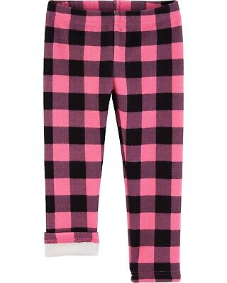 Carter's Toddler Girls Pink Plaid Cozy Lined Casual Wear Leggings Size 5T NWT