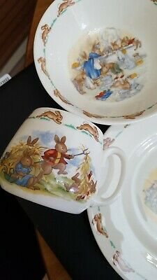 Vintage Royal Doulton Bunnykins Fine Bone China Child Dishes Plate Cup Bowl Set