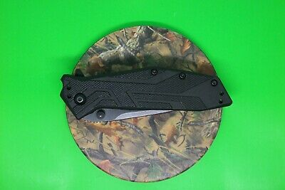 KERSHAW Tactical Folding Knife - 1990 Black BRAWLER Fine Edge Tanto Speedsafe