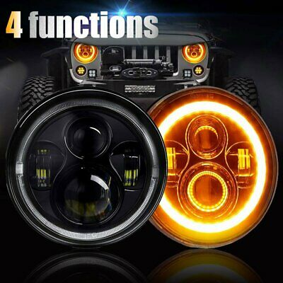 7 inch 200W CREE Round LED Headlights Jeep Wrangler TJ JK 97-17 Halo Turn Signal