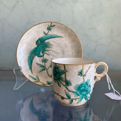 Royal Worcester cup & saucer, pattern 1418, teal cranes, Dated 1885