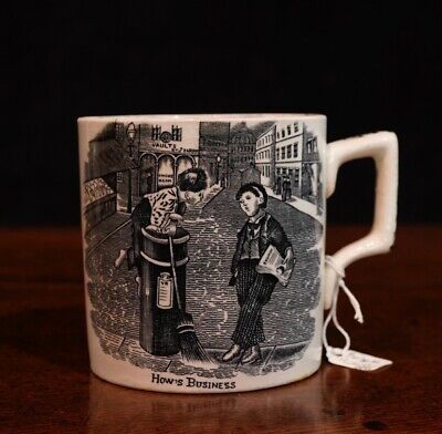 Burgess & Leigh pottery tankard, 'How's Business' humerous print, c.1895