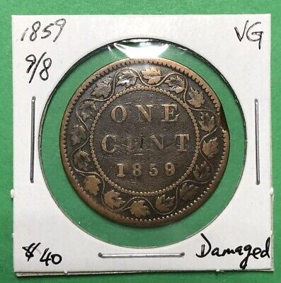 Canada 1859 Large One Cent Wide 9/8 VG
