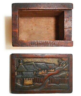 Rare Early 20Th C Arts & Crafts Hand Carved Footed Wood Trinket Box, W/Slide Lid